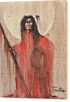 Red Man Wood Print by Patrick Trotter