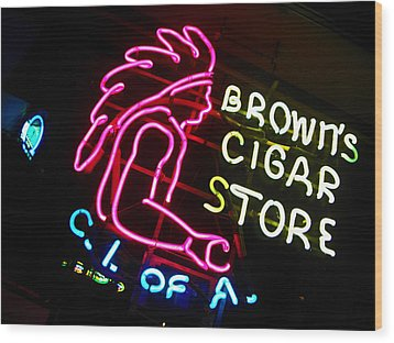Red Man's Smoke Shop Wood Print by Elizabeth Hoskinson