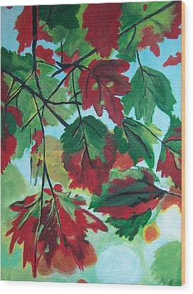 Wood Print featuring the painting Red Maple by Krista Ouellette
