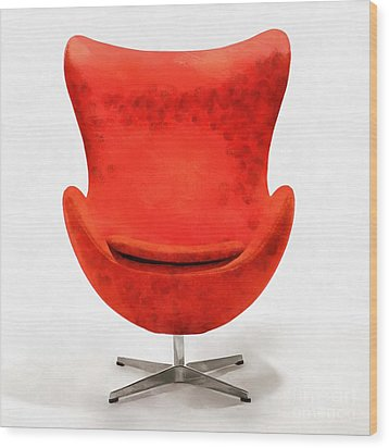 Red Mid Century Modern Chair Wood Print by Edward Fielding
