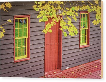 Red Mill Door In Fall Wood Print