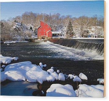 Red Mill In Winter Landscape Wood Print by George Oze