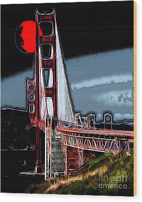 Red Moon Over The Golden Gate Bridge Wood Print by Wingsdomain Art and Photography
