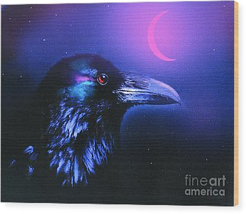 Red Moon Raven Wood Print by Robert Foster