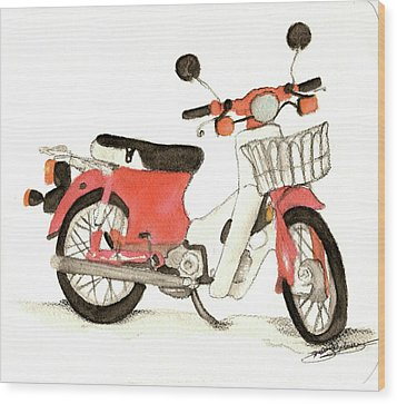 Red Motor Bike Wood Print