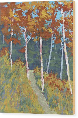 Red Mountain Aspens Wood Print