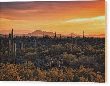 Wood Print featuring the photograph Red Mountain Sunset Part Two  by Saija Lehtonen