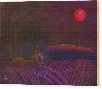 Red Night Painting 48 Wood Print by Angela Treat Lyon