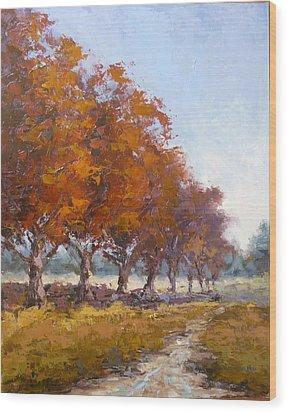 Red Oak Avenue Wood Print by Yvonne Ankerman