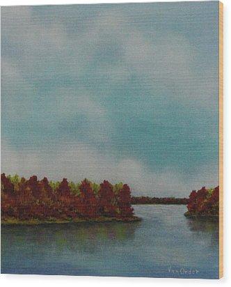 Red Oaks On The River Wood Print by Richard Van Order