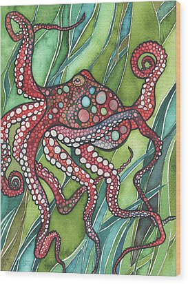 Wood Print featuring the painting Red Octo by Tamara Phillips