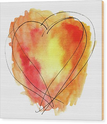 Wood Print featuring the photograph Red Orange Yellow Watercolor And Ink Heart by Carol Leigh