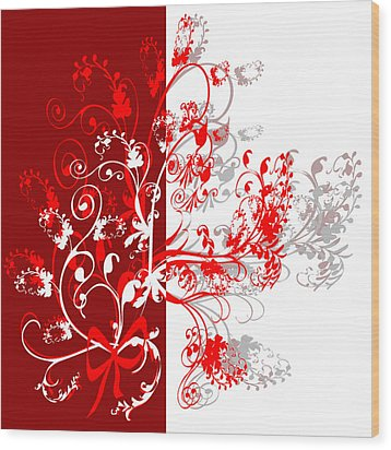 Red Ornament Wood Print by Svetlana Sewell
