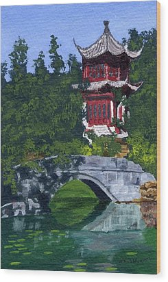 Wood Print featuring the painting Red Pagoda by Lynne Reichhart