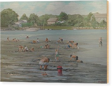 Clam Diggers Ri Shore Wood Print