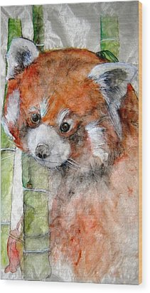 Wood Print featuring the painting Red Panda Portrait by Debbi Saccomanno Chan