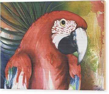 Red Parrot Wood Print by Anthony Burks Sr