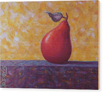 Wood Print featuring the painting Red Pear by Dee Davis