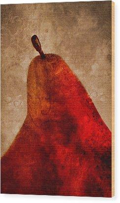 Red Pear II Wood Print by Carol Leigh