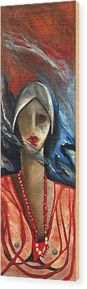 Red Pearls Wood Print by Niki Sands
