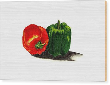 Red Pepper And Green Pepper Wood Print by Michael Vigliotti