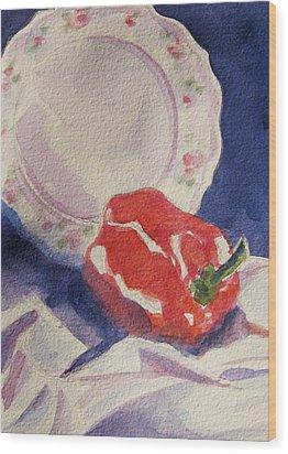 Red Pepper Wood Print by Marsha Elliott