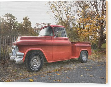 Red Pick-up Wood Print