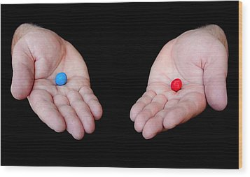 Red Pill Blue Pill Wood Print by Semmick Photo