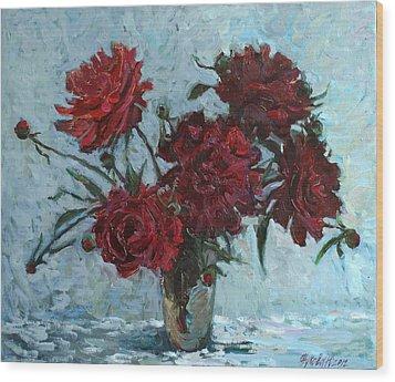 Red Piones Wood Print