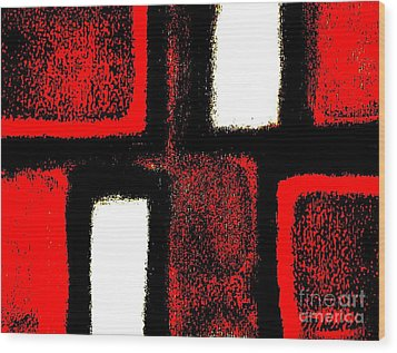 Red Plaid Wood Print by Marsha Heiken