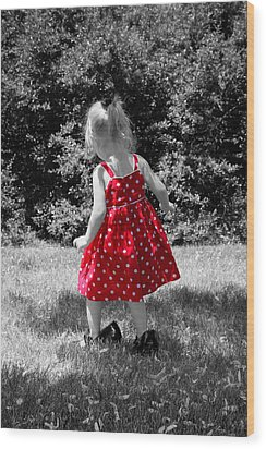 Red Polka Dot Dress And Mommy's Shoes Wood Print