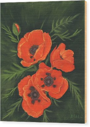 Wood Print featuring the painting Red Poppies by Anastasiya Malakhova
