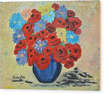 Red Poppies And All Kinds Of Daisies  Wood Print