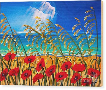 Red Poppies And Sea Oats By The Sea Wood Print by Patricia L Davidson