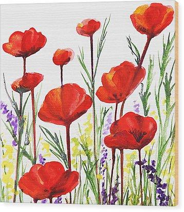 Red Poppies Art By Irina Sztukowski Wood Print by Irina Sztukowski