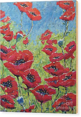 Red Poppies By Prankearts Wood Print by Richard T Pranke