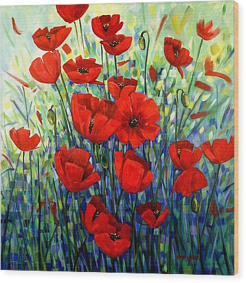 Red Poppies Wood Print by Georgia  Mansur