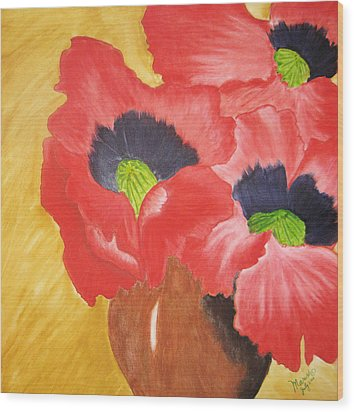 Red Poppies Wood Print by Maris Sherwood