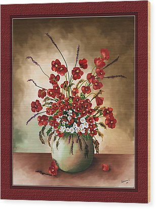 Wood Print featuring the digital art Red Poppies by Susan Kinney