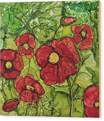 Red Poppies Wood Print by Suzanne Canner