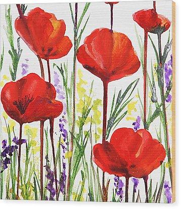 Red Poppies Watercolor By Irina Sztukowski Wood Print by Irina Sztukowski