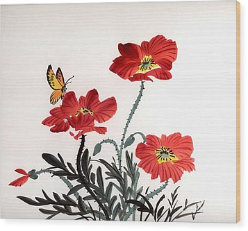 Wood Print featuring the painting Red Poppies by Yolanda Koh