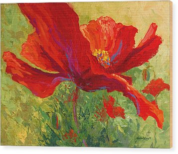 Red Poppy I Wood Print by Marion Rose