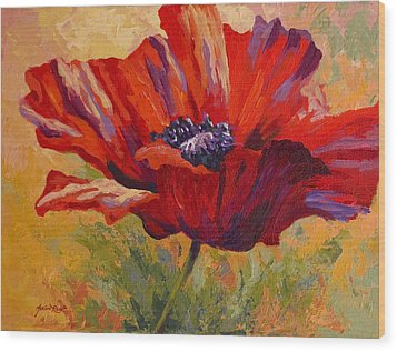 Red Poppy II Wood Print by Marion Rose