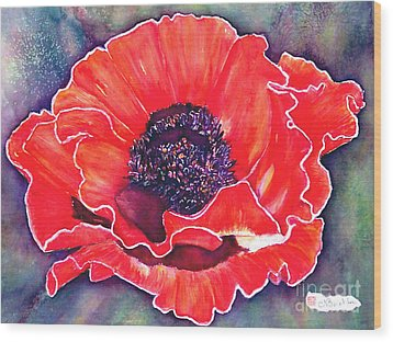 Red Poppy Wood Print by Norma Boeckler