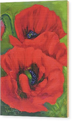 Red Poppy Seed Packet Wood Print