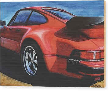 Red Porsche 930 Turbo Wood Print by Rod Seel