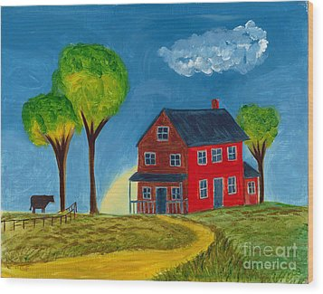 Red Praire House Wood Print