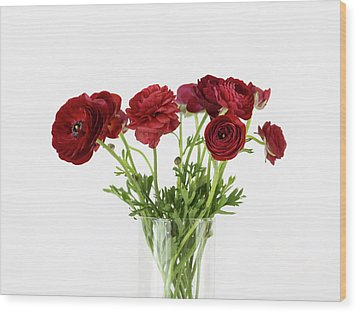 Wood Print featuring the photograph Red Ranunculus by Kim Hojnacki