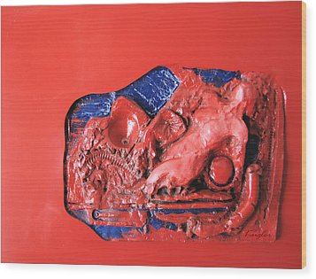 Red Relief Wood Print by Chuck Kugler